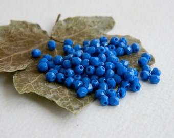 Faceted Round Beads, Czech Glass Fire Polished Beads, 4mm,  Opaque Azure Blue(100pcs) NEW