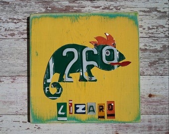 Funky Lizard Green on Yellow Orange Gecko Nursery Boy Toddler Animal Custom License Plate Art Recycled States