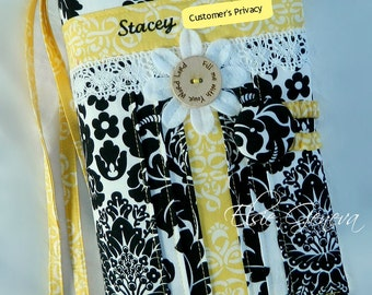 Choose Any Fabric in Shop Made to Fit Personalized Black White & Yellow OR Pink Damask Lace Bible or Journal Cover