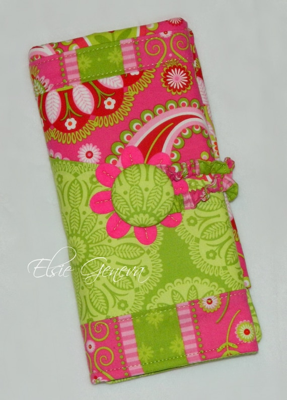 Choose Any Fabric in My Shop or Green and Pink  Spill Proof DPN Circular or Interchangeable Knitting Needle Organizer