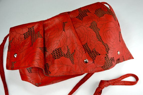 Red Rose & Thorn Lasercut Lambskin Leather Ruffle Crossbody Bag