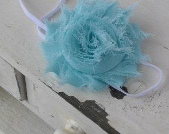 Aqua Shabby Headband, Baby Headband, Baby Girl Headband, Shabby Headband, Aqua Skinny Headband, Shabby Flower Headband, Skinny Elastic