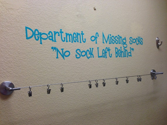 Wall Decal Department of Missing Socks 30 x 6""