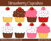 Strawberry Cupcakes Clipart - Digital Clip Art Graphics for Personal or Commercial Use