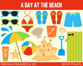 A Day at the Beach Clipart - Digital Clip Art Graphics for Personal or Commercial Use