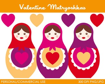 Valentine Matryoshkas Clipart - Digital Clip Art Graphics for Personal or Commercial Use