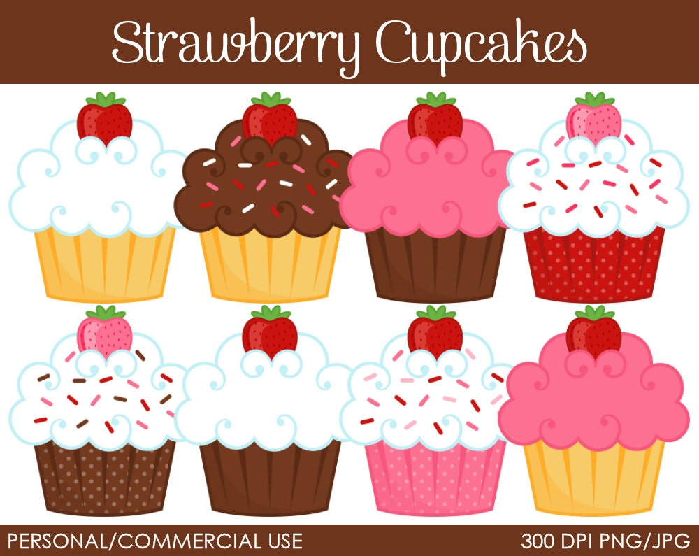 Rainbow Cupcake Clipart Strawberry cupcakes clipart