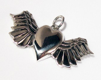 Heart With Wings, Handmade, Sterling Silver Pendant, Necklace
