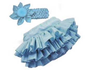 Blue Infant Bloomer with flowered headband -- Diaper Cover