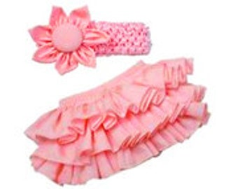 Infant Bloomer with flowered headband -- Diaper Cover