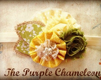 Shabby Chic Headband in Yellow and Olive Green Custom Sizing Toddler to Adult Flower Girl Wedding Colors