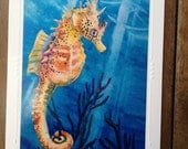 """Sea Horse Art Note Card """"Sea Freckles""""  Tropical Fish-  Embossed Art Print Greeting Card / Note Cards with Envelope  Christie Marie Art"""