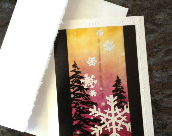 ART GREETING CARD Snowflake brushed metal art print Blank Note Cards with envelope, style: snowboard, ski, mountain snow, Pray for Snow