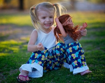 American Girl Matching Pajama Pant Set for Girl and Doll. Sizes 2T-12. Flannel pants. Navy Flower Stripe