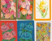 Vintage Playing Cards retro Floral Tulip paper ephemera for scrapbooking collage altered art paper Crafts 2 each of 6 designs