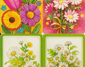 Vintage Playing Cards DAISIES spring summer retro illustrations paper ephemera scrapbooking collage altered art paper Crafts 2 ea 4 designs