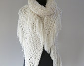 Off White Light Cream Ivory Eggshell Color Chunky Knitted Wedding Shawl Wrap Stole with Long Fringes