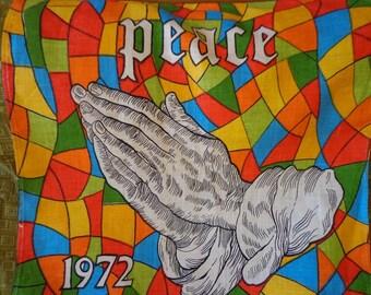 Vintage 1972 Tea Towel Calendar with Prayer Hands and Peace Theme