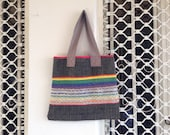 Rainbow eco handwoven tote - ERGANIweaving