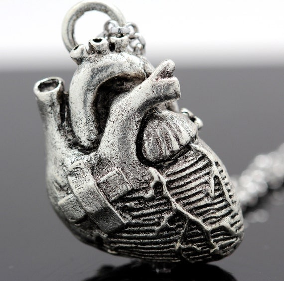 Broken Heart Anatomical Heart Necklace In Antique Silver On A