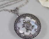 Sea Turtle ,Locket,Silver, Turtle ,Antiqued,Charm,Silver Locket,Woodland,Pond.Jewelery by Valleygirldesigns.