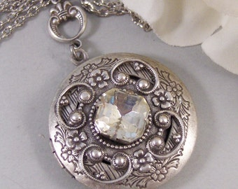 Queen Anne's Lace,Locket,Antique Locket,Silver Locket,Diamond,Vintage,Rhinestone,Birthstone. Handmade jewelry by Valleygirldesigns.