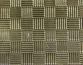 Brass Textured Metal Sheet Criss Cross Quilt Pattern 24g - 6 1/4 x 2 1/4 inches - Bracelets Pendants Metalwork