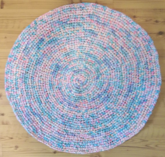 Crocheted Pastel Rag Rug Round Rug By Mountainmommadesigns