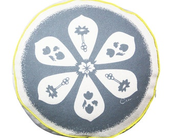 Round Pillow, 12 inch, Gray, Mid Century, Flower, Reversible, Hand Printed on Cotton Bark Cloth
