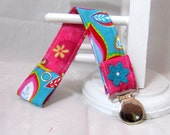 Pacifier Clip with Snaps Double Sided - pink and turquoise flowers/pink flowers