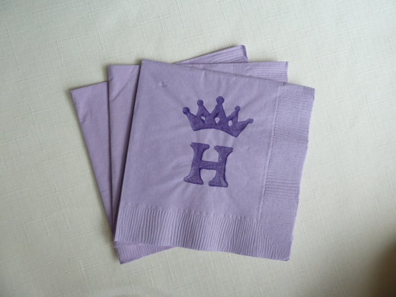 Monogrammed Crown Paper Cocktail/ Luncheon/ Dinner Napkins