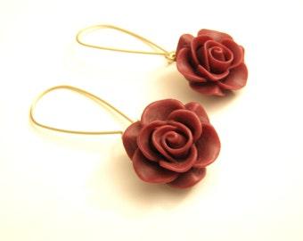 Bordeaux flower Earrings