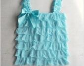 Aqua color ruffle top