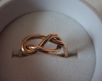 Jewelry, ring, 1.6mm thick, 14g, infinity knot, 14kt gold filled, celtic knot ring,