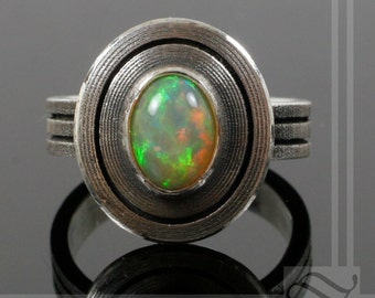Solar Sun Ring - Ethiopian Opal and Sterling Silver