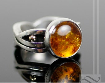 12mm Round Solid Amber Ring