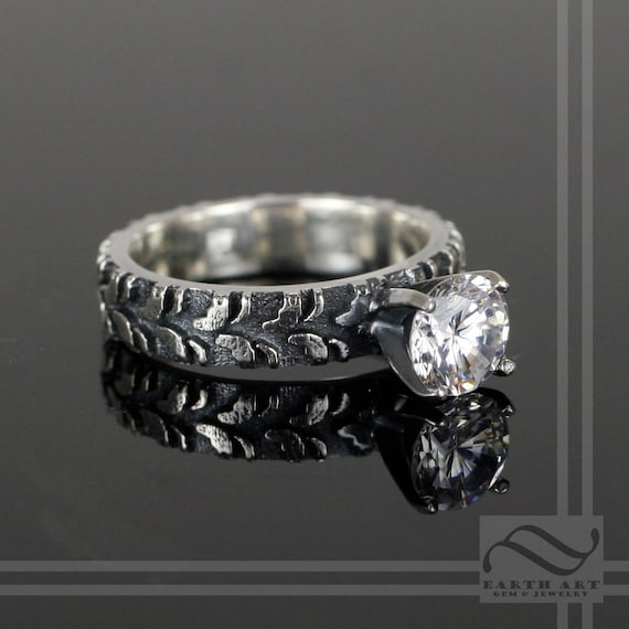 narrow tire tread ring with cz sterling by