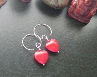 Red Heart Valentines Earrings -Red Howlite with Red Crystals on Heart Earwires