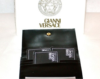 GIANNI VERSACE Vintage Wallet Black Monogrammed Canvas Medusa Trifold Coin Purse - DEADSTOCK - Authentic -