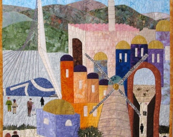 Decorative Art Wall Hanging Quilted, Holy Land Jerusalem