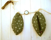 SALE - Floral handbag, japanese purse with green leaves, natural zen style