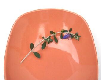 Mid century serving dish by Salem. Main Street, Jubilee Peach. Mod, modern, oval, vegetable bowl,