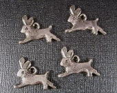 Rabbit Charms 4 Vintage Antiqued Silver or Gold Plated Bunny Charms Top Loop 2 Sided Running Rabbits very Cute Cast Charms