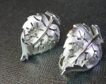 Trifari Vintage Silver Leaf Earrings Clip On Heart Shaped Leaves Signed Trifari  Repurpose/Reuse