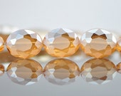 28pcs Oval Faceted Crystal Glass Frosted beads 20m Matte Champagne -(TS58-5)