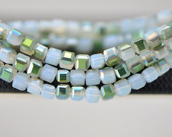 Crystal Cube Square Glass Faceted beads 4mm Opal Green- (FZ0445)/ 95pcs