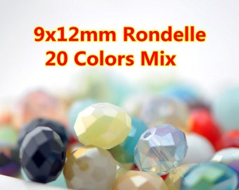 120pcs  Rondelle Crystal Glass Faceted Beads 9x12mm Mix Color- MX08