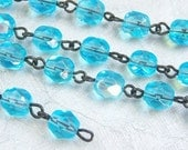 Czech beaded chain aqua AB beads with jet links (24) inches  - MB370