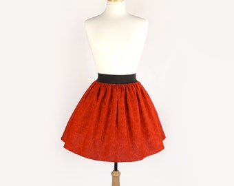 Vivid Red Skull Skirt / Full Skirt/