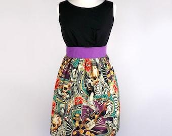 Empire Waist Japanese Zen Tattoo Dress / Rockabilly